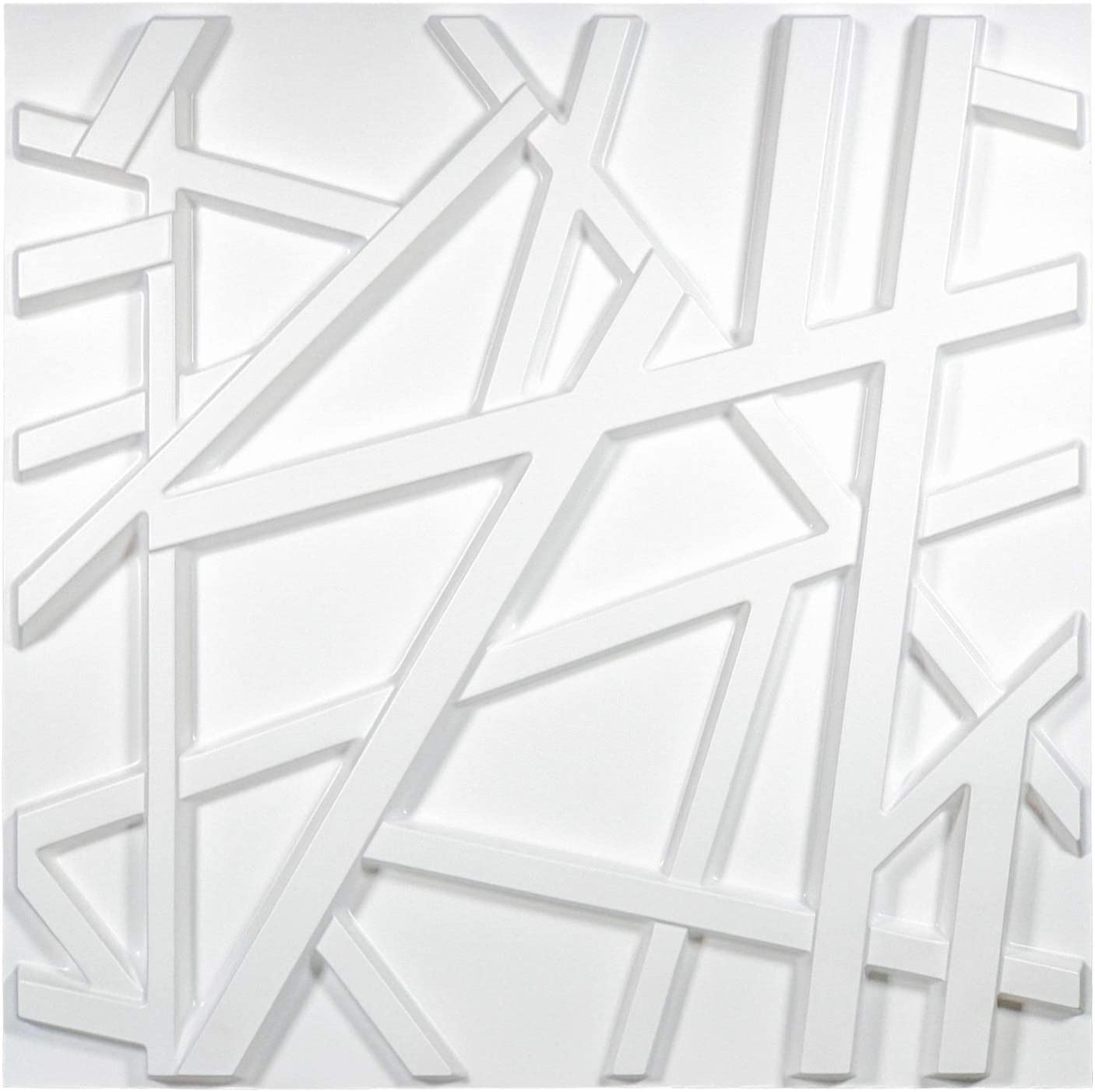 Art3d Matt White PVC 3D Wall Panel Geometric Crossing Lines Cover 32 Sqft, for Residential and Commercial Interior Décor