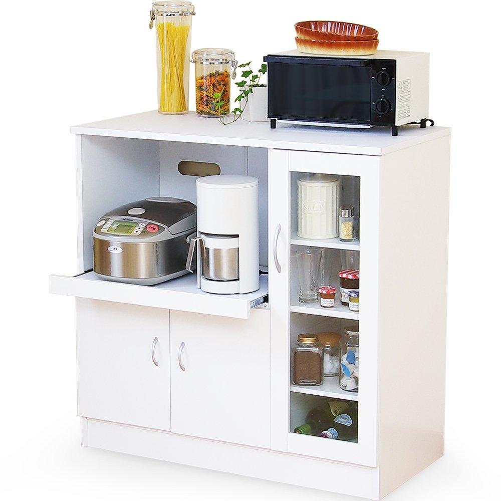 LOWYA (ロウヤ) キッチンカウンター レンジ台 キッチン収納 スライド収納 幅90 ホワイト おしゃれ 新生活 B00JO5XOH8 ホワイト レンジ台タイプ