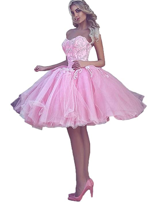 ea17e3334c2 QiJunGe Arabic Short Prom Dresses Sexy Pink Ball Gown Beaded ...