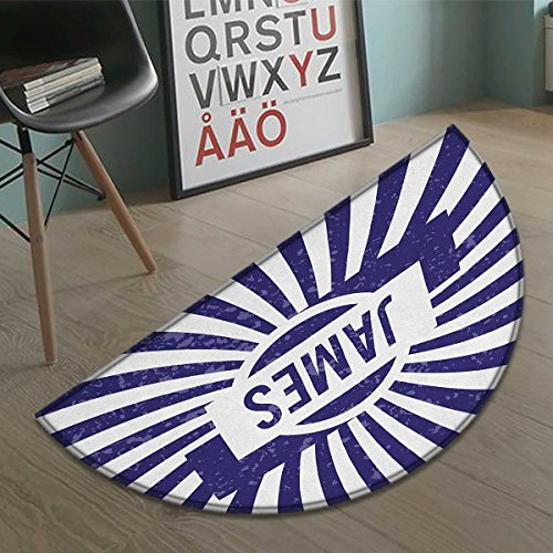 James bath mats for floors Classical Nautical Colors and Grunge Effect Common First Name Surname Design door mat indoors Bathroom Mats Half Moon Non Slip Navy Blue and White size:35.5