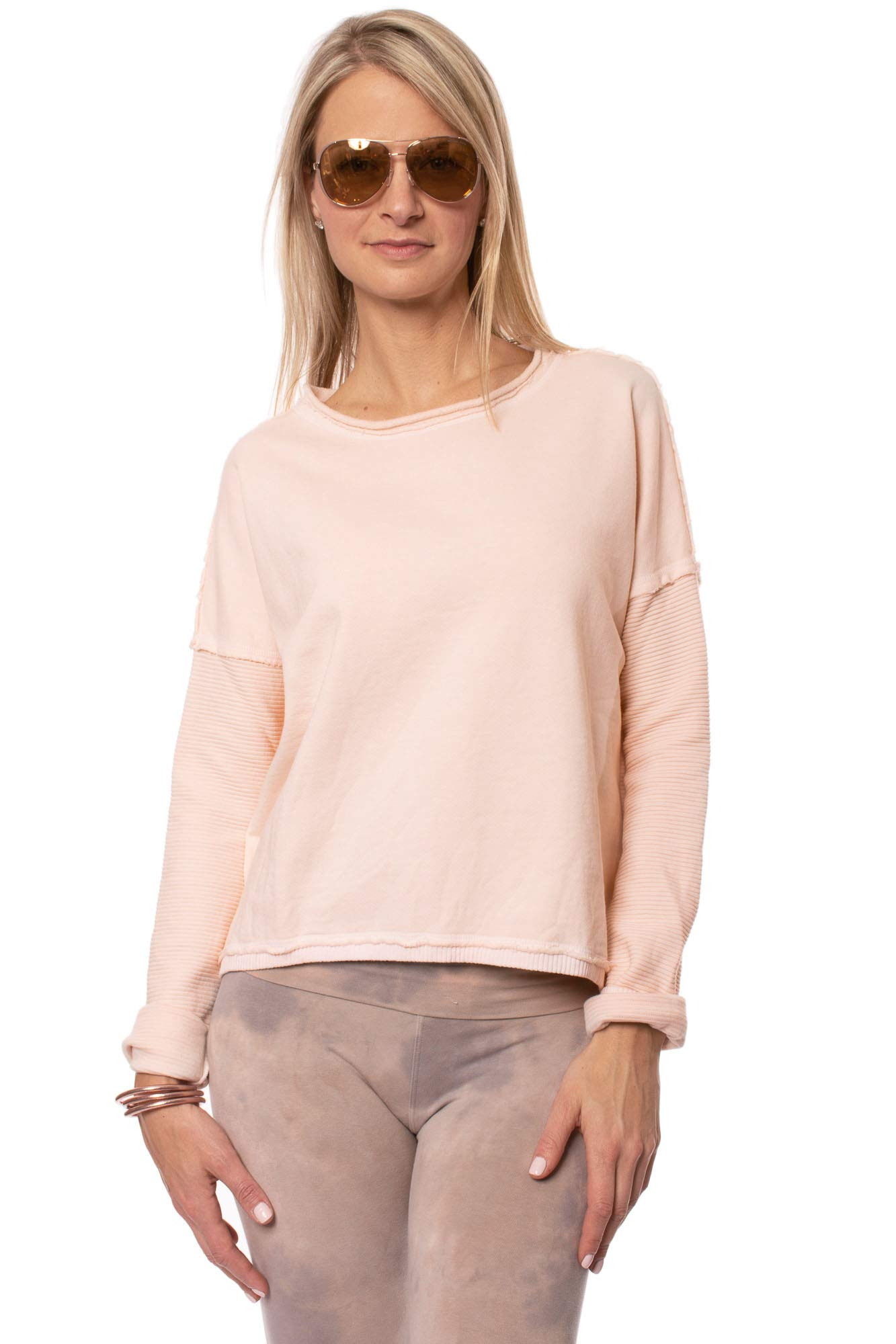 Hard Tail Forever - Crystal Fleece Ribbed Raw Edge Sweater (CRY-03, Apple Blossom) - XS