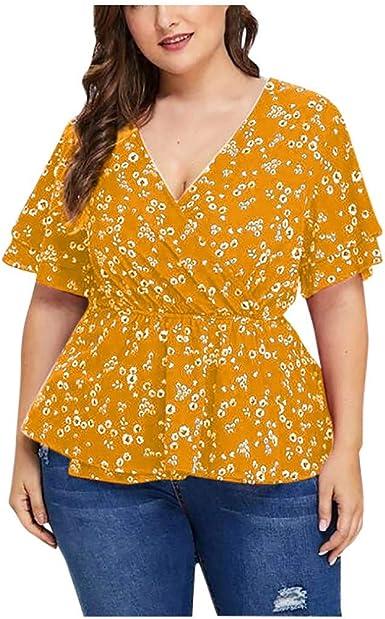 FELZ Camiseta de Mujer Manga Corta Sexy Blusa De Fiesta Playa Tallas Grandes Suelto V-Cuello Blusas De Mujer Elegantes con Volantes Boho Impreso Camisas Sin Espalda Casual Pullover Tops tee: Amazon.es: Ropa