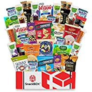 SnackBOX Gluten Free Healthy Snacks Care Package (34 Count) for College Students, Exams, Easter, Military, Finals, Office and Gift Ideas. Over 3 LBS of Chips, Popcorn, and granola Bars.