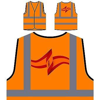 España Mundo Mapa Arte Chaqueta de seguridad naranja personalizado de alta visibilidad i735vo: Amazon.es: Industria, empresas y ciencia