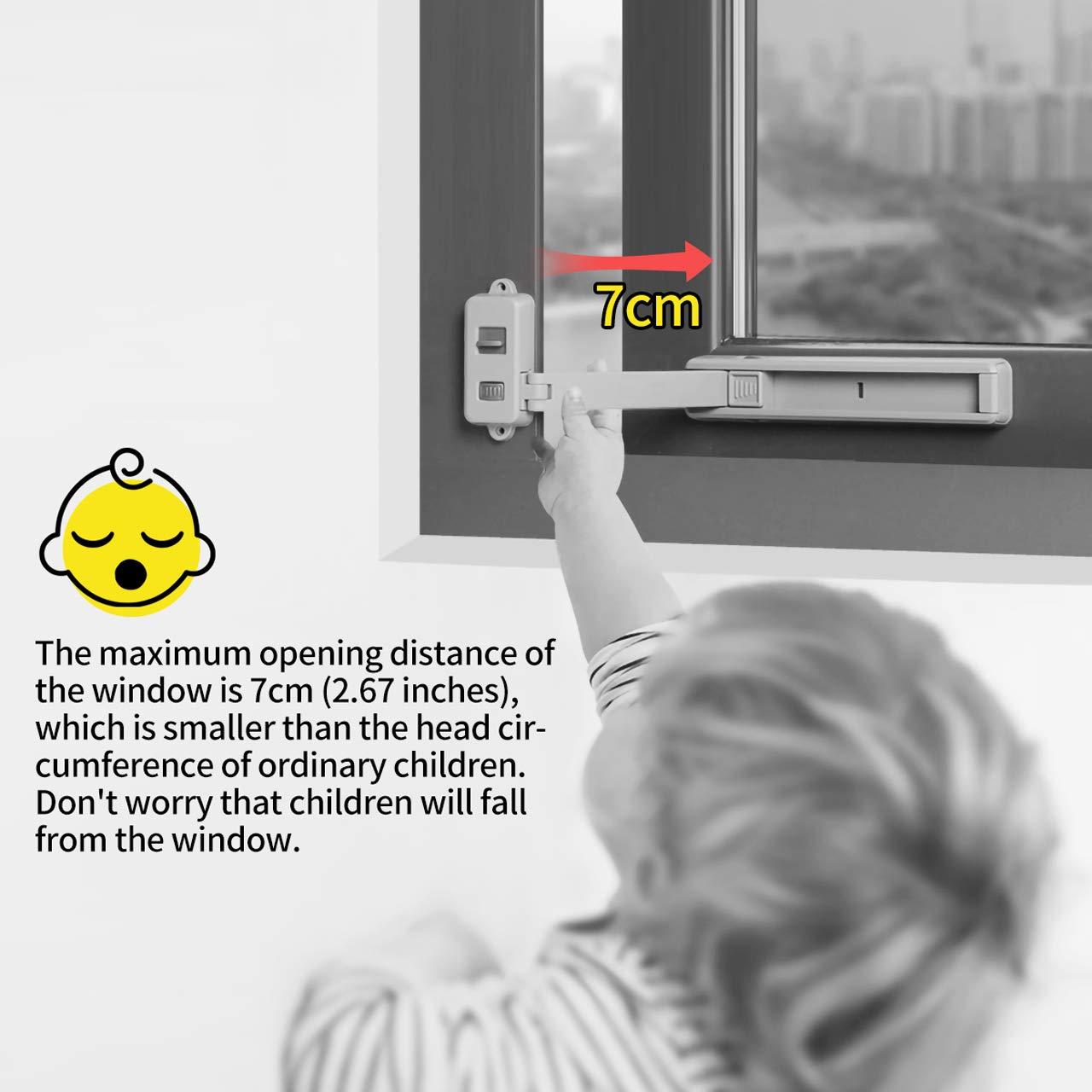 Fensterbegrenzer Kindersicheres Sicherheitsschloss Windows Stopper Door Anti-Theft Restrictors Keine Selbstklebenden Riegel zum Bohren f/ür PVC-Metallmetall-Aluminiumprofile