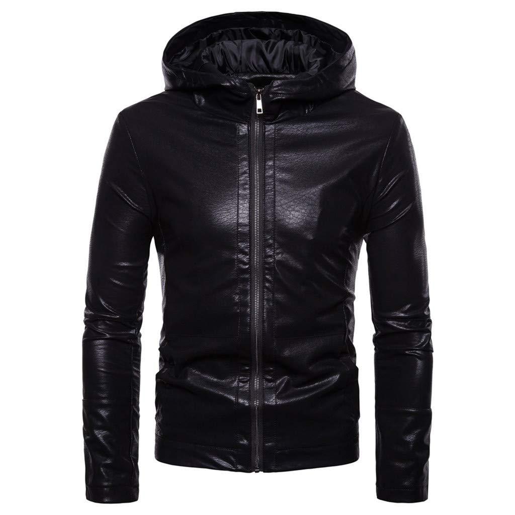Men's Motorcycle Leather Jacket, New Style Adult Full Zip Slim Fit Waterproof Hooded Coat Stand Collar Autumn Outwear (XX-Large, Black) by LANTOVI Men Sweatshirt