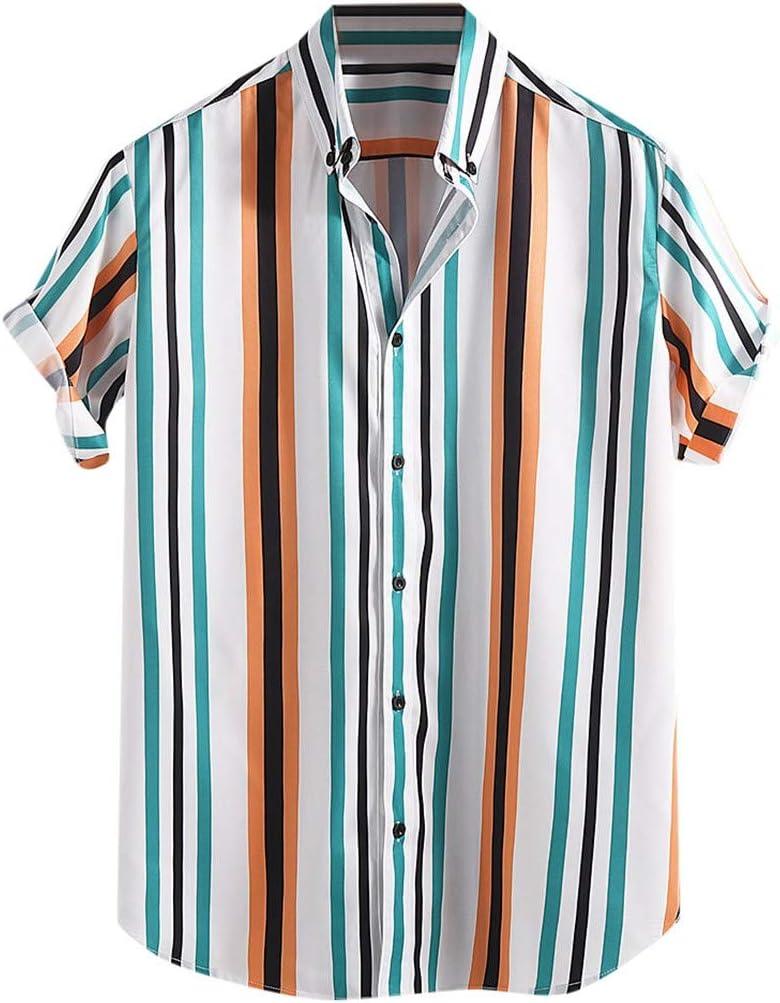 Sunnyuk Camisa de los Hombres para Hombre Bolsillo en el Pecho Bolsillo Manga Corta Camisas Sueltas Blusa: Amazon.es: Deportes y aire libre