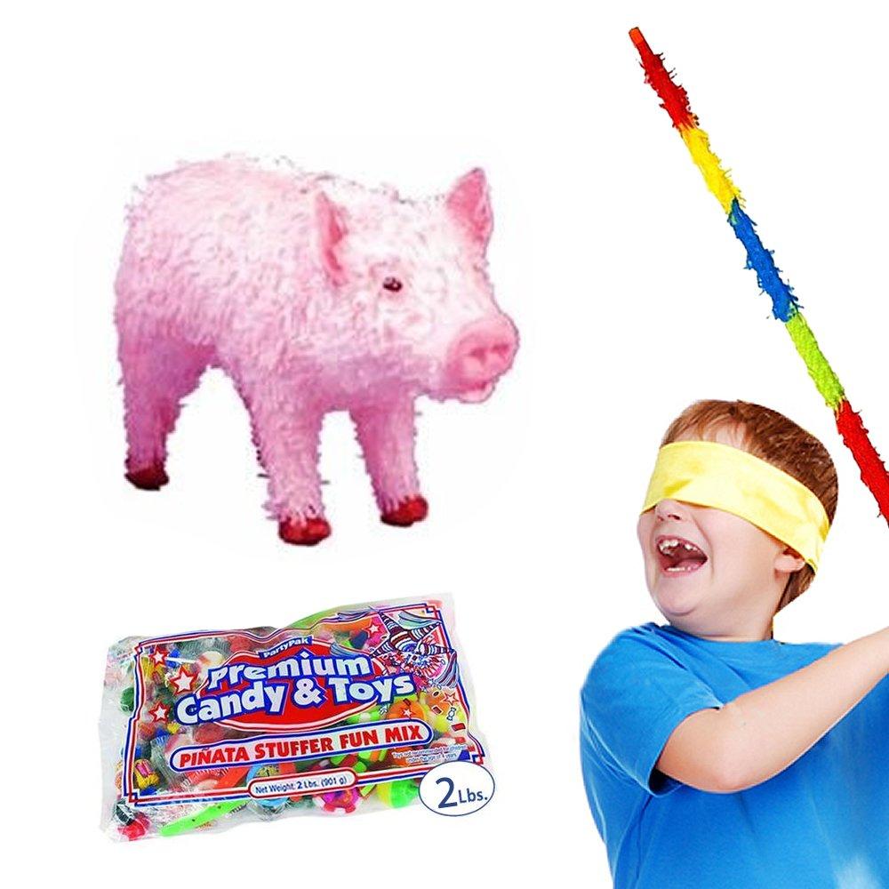 Pig Pinata Kit Including Pinata, Buster Stick, Bandana, 2 lb Toy and Candy Filler