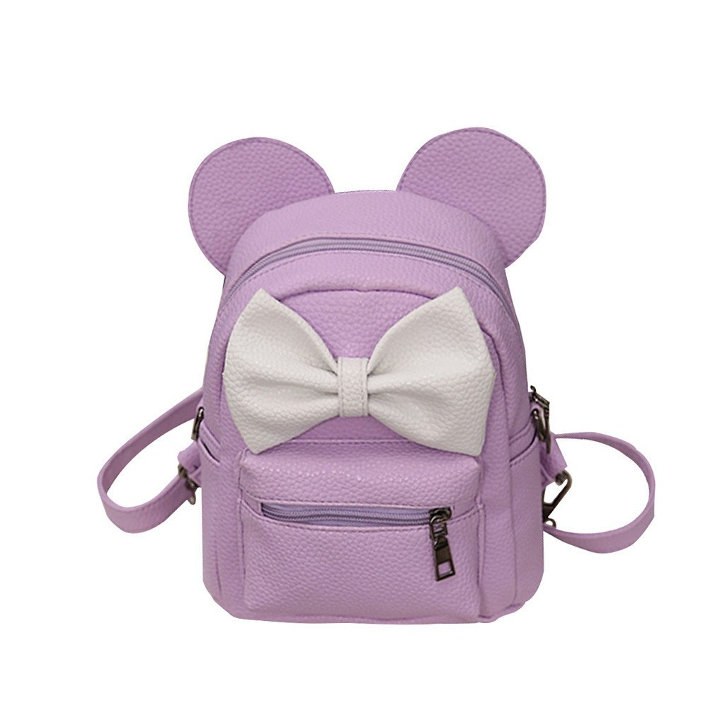 vermers Women's Backpack Backpack Bow Tie Mickey Backpack Female Mini Bag(Light Purple)