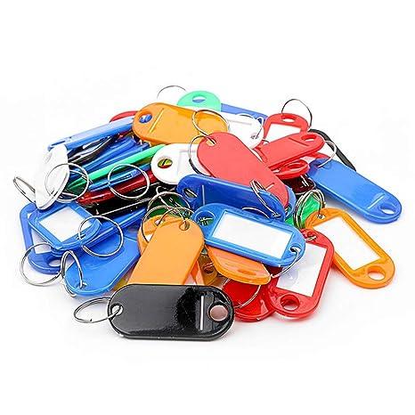 Aofocy Etiquetas de Llavero de plástico de Colores Surtidos con Etiquetas - Paquete de 50
