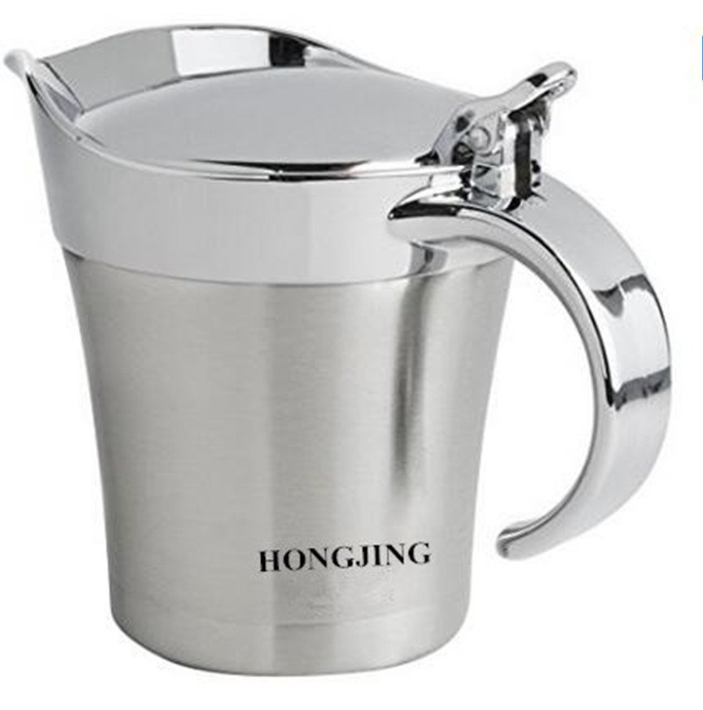 HONGJING Stainless Steel Double Insulated Gravy Boat / Sauce Jug - with ABS Plastic Cover Hinged Lid and Handle & 400ML Capacity keep Gravy & Sauces Hot