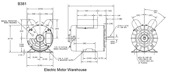2 HP SPL 3450 RPM M56 Frame 115/230V Air Compressor Motor ... Ac Motor Schematic Diagram Part Number on
