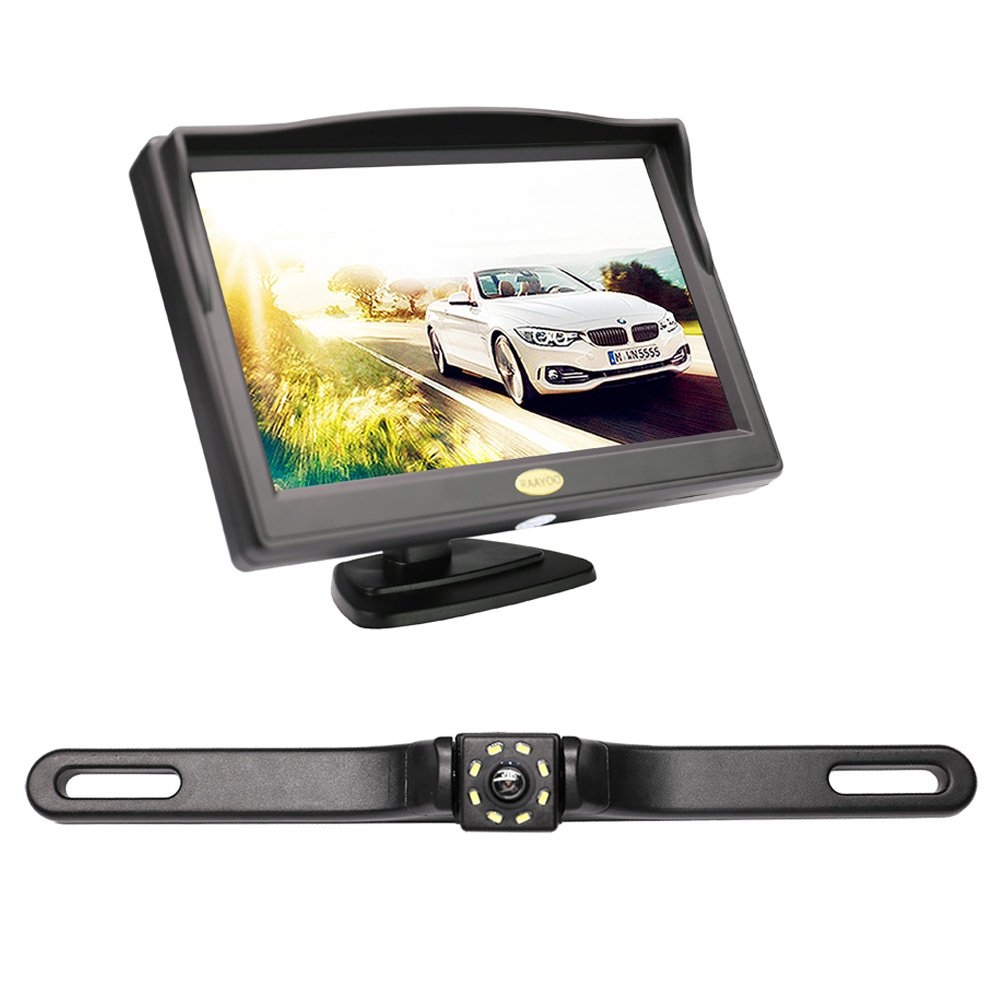 """Backup Camera and Monitor Kit for Car, RAAYOO 8 LED Light Super Night Vision Car Parking Rear View License Plate Camera and 5"""" Color TFT LCD Backup Monitor with Suction Cup Bracket"""