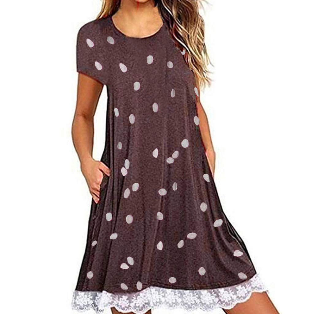 ZOMUSAR Women Fashion Casual Dot Printed Lace Patchwork Boho Pockets Mini Dress for Ladies Brown