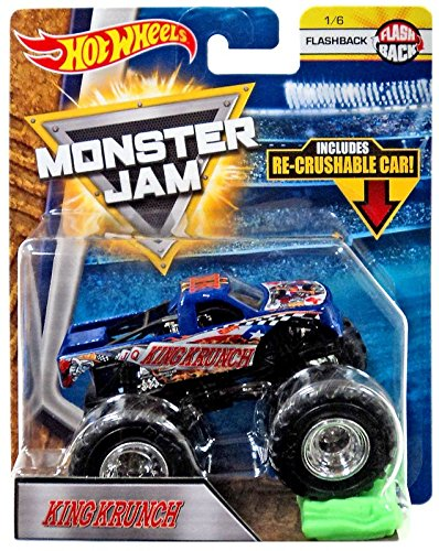 2018 Hot Wheels Monster Jam 1:64 Scale Truck with Re-Crushable Car - King Krunch