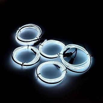 5x 1m EL Wire Weiß Kabel Leuchtschnur Lichtschnur Band ...