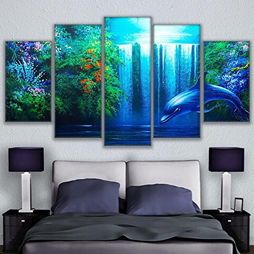 Waterfall Dolphin (Wall Art Pictures Home Decor Living Room Frame HD Printed 5 Pieces Calming Dolphin Waterfall Poster Landscape Canvas Paintings,20x35 20x45 20x55cm,Frame)
