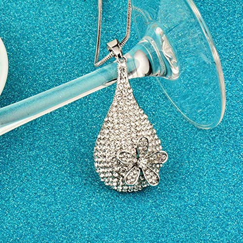 Fasmodel - Black/White Crystal Tear Drop Flower Pendant Long Necklace With Cubic Zirconia Women Snake Chain Accessories MY092 SSA