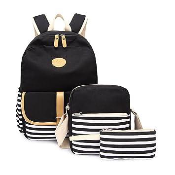 8c8942e52687e Alando Casual Canvas Schulrucksack Set+Schultertasche +Geldbeutel Mäppchen  Causal Rucksack Freizeitrucksack Daypacks Backpack