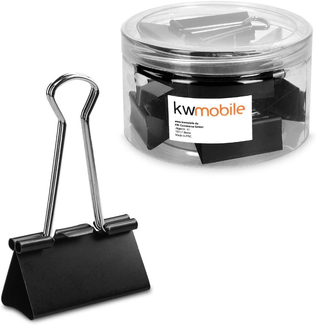 kwmobile Set de 12 Clips para oficina casa o escuela - Pinzas para papel grandes de metal - 51MM - Negro