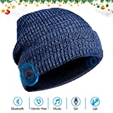 Bluetooth Beanie Hat Headphones Headset, Wireless 4.1 Connection Siri Voice Control Built-in HD Stereo Speakers & Microphone, Knit Cap for Running, Outdoor Sports, Women Men (Blue)