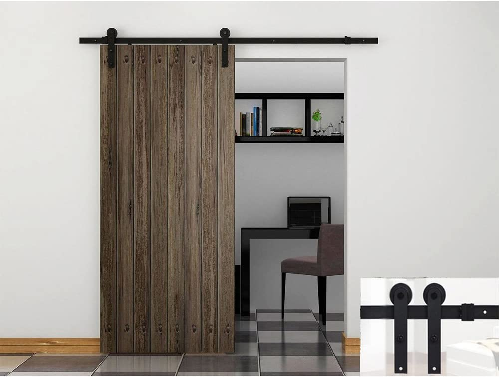 Hahaemall - Juego de rieles de acero para puerta corredera, diseño vintage de rueda de 1,5 m a 4,88 m: Amazon.es: Bricolaje y herramientas