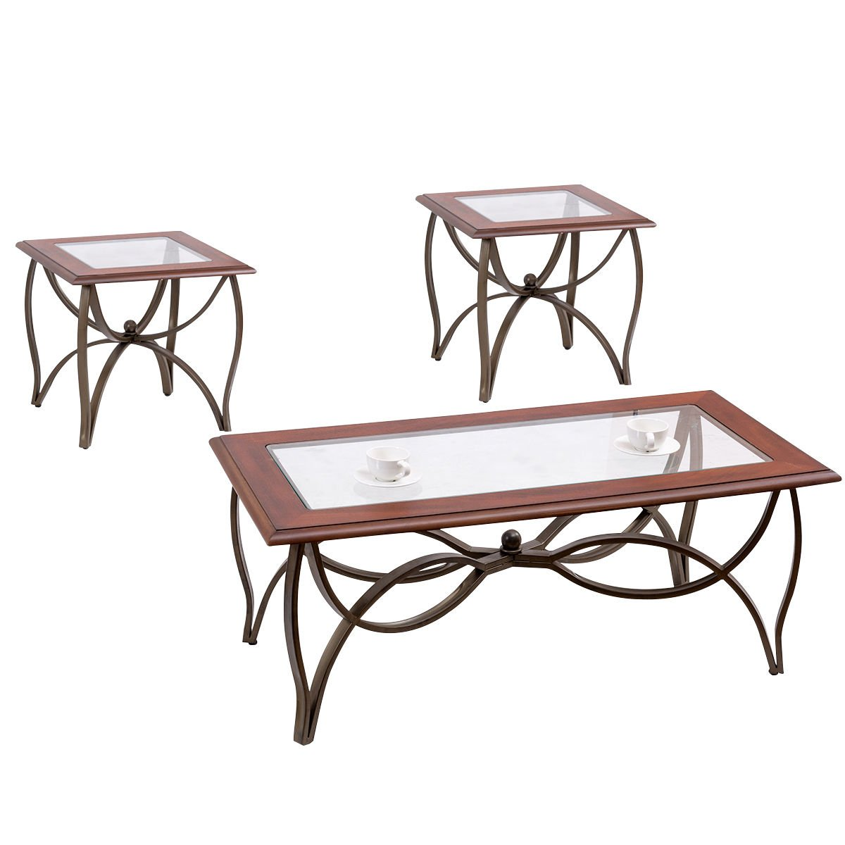Tangkula Glass Coffee Table Set Occasional Cocktail Table Set Glass Top Coffee Table & 2 End Tables Set of 3