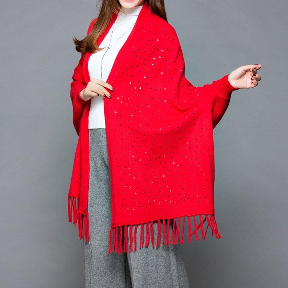 HAIZHEN alla moda alla moda Donne Spessa Mantello Sciarpa a maglia sciata a scialle di colore solido...
