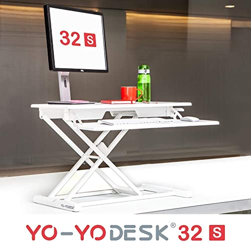 Yo-Yo DESK 32-S Slim 32 White . Converts Any Desk to a Standing Desk Height Adjustable Standing Desk Easy-to-Handle Slim Frame Sit-Stand Solution Suitable for Thinner Desk Spaces