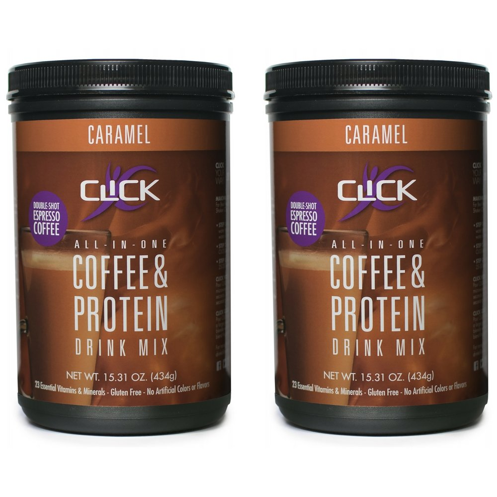 CLICK All-in-One Protein & Coffee Meal Replacement Drink Mix, Caramel, 15.3 Ounce (2 Pack)