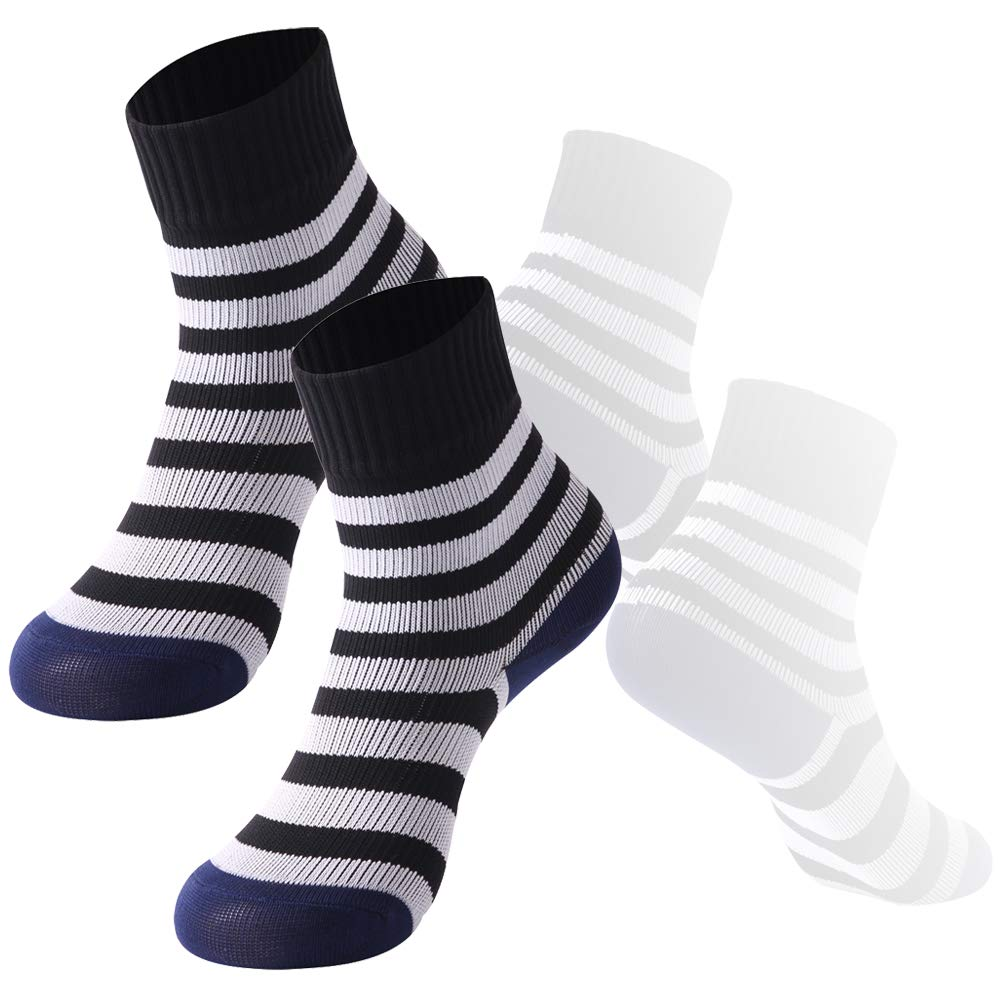 Girls Golf 100% Waterproof socks, RANDY SUN Mid-Calf Ultimate Stripe Soft Socks for 4-6 Years Kids, 2 Pairs-Black and White by RANDY SUN