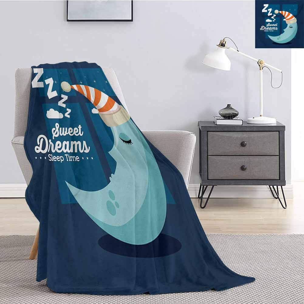 Sweet Dreams Children's Blanket Sleeping Time Bedroom Window Backdrop with Moon in a Hat in Starry Night Sky Lightweight Soft Warm and Comfortable W60 x L50 Inch Multicolor