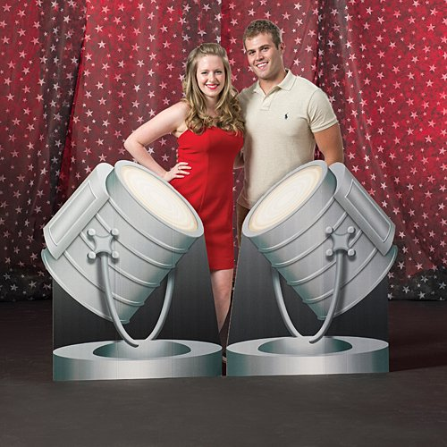 4 ft. 1 in. Vintage Hollywood Movie Star Spotlights Standup Photo Booth Prop Background Backdrop Party Decoration Decor Scene Setter Cardboard Cutout