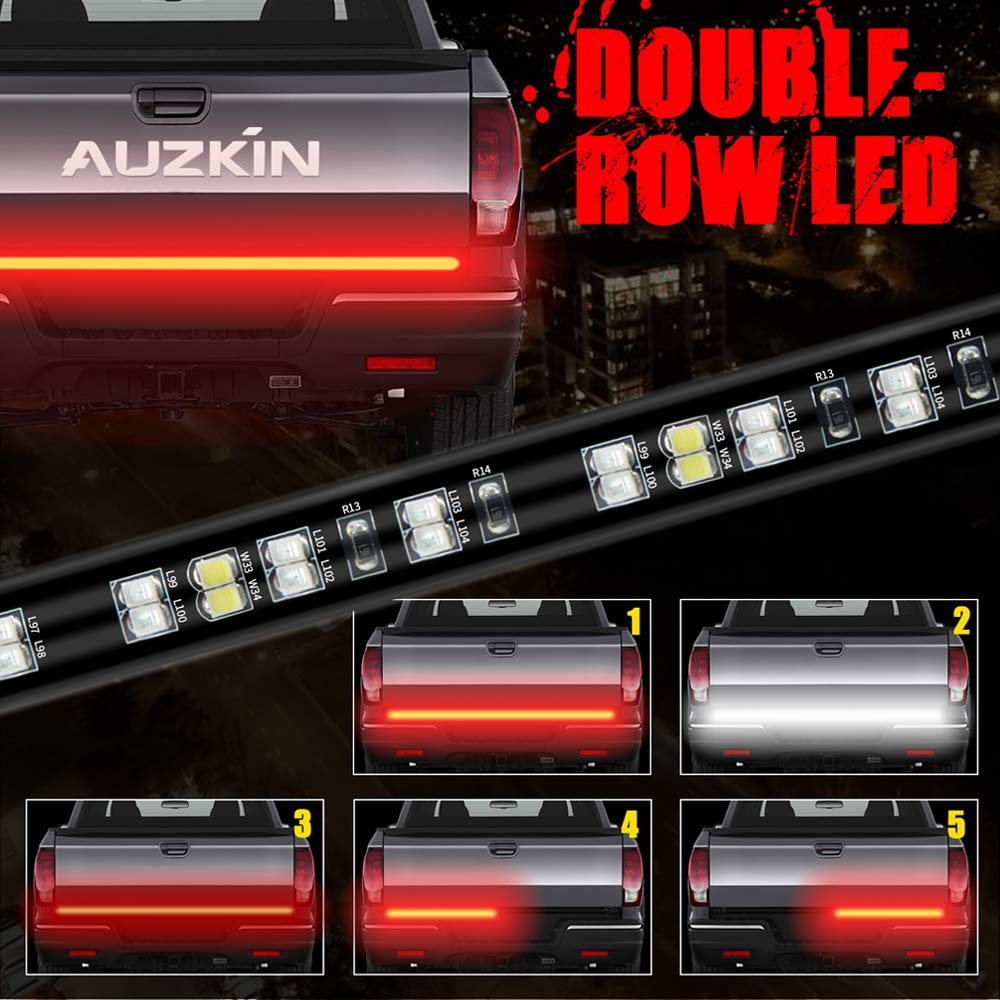 AUZKIN 60'' Tailgate Light Bar Double-Row LED Light Strip Brake Running Turn Signal Reverse Tail Lights for Trucks Trailer Pickup Car RV Van Jeep Towing Vehicle,Red/White,No-Drill,1 Year Warranty