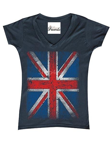 187d60f7 Image Unavailable. Image not available for. Color: Mom's Favorite Vintage Union  Jack British Flag Women's V-Neck T-Shirt United Kingdom