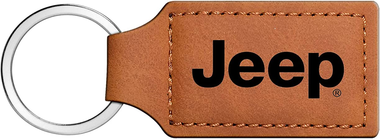 Brown Durable JIYUE Genuine Leather Keychain for Jeep Key Chain Car Logo Key Chain Accessories Simple Elegant