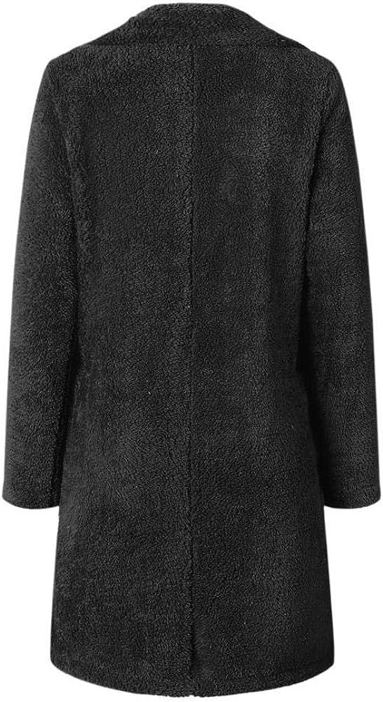 Dark Camel,XL Manyysi Winter Coats for Women Faux Fur Coat Long Overcoat Jacket Outerwear Casual