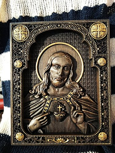 Sacred Heart of Jesus Catholic Icon Religious wedding anniversary gift for woman gift Wood Carved religious wall plaque FREE ENGRAVING FREE SHIPPING by Woodenicons Artworkshop ''Tree of life'' (Image #1)