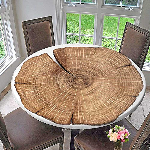(PINAFORE HOME Round Fitted Tablecloth Cracked Oak Split Isolated for All Occasions 43.5