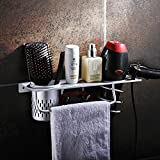 Aluminum Wall Mounted Bathroom/Washroom Daily living Furniture Organizer Hair Dryer Holder Toothbrush Storage Towel Racks Hooks Shampoo Trays Shelves With 1 Cups