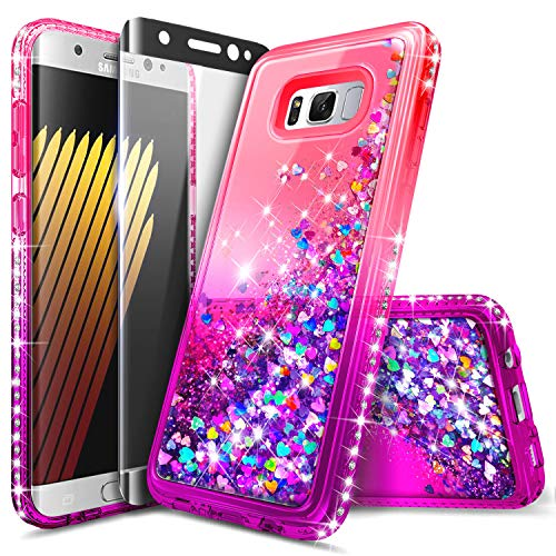 Galaxy S8 Plus Case, NageBee Glitter Liquid Bling Floating Quicksand Waterfall Diamond Women Kids Girls Cute Case w/[Full Cover Soft Screen Protector] for Samsung Galaxy S8+ /S8 Plus -Pink/Purple