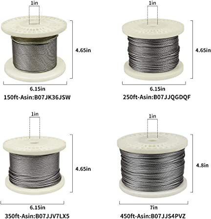 VEVOR 316 Stainless Steel Cable 1//8 1x19 Steel Cable Wire Rope 150M//500FT Cable Railing Transport Wire Rope Cable for Railing Decking DIY Balustrade 150M