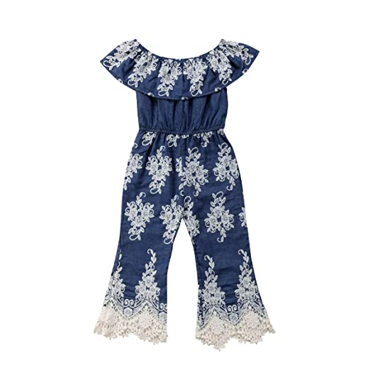 97083b95afb Infant baby girl denim ruffle one piece romper bodysuit jpg 522x522 Girls  navy blue romper
