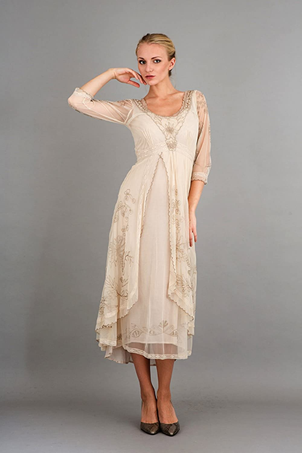 Women\'s Downton Abbey Vintage Style Tea Party Gown in Pearl at ...