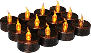 Youngerbaby Copper Tea Light Battery Operated Flickering Amber for Festival Wedding Party Decor , 1.4 Inch Flameless Tea Lights Vintage Tealights Led Candles for Holiday –12 Pack