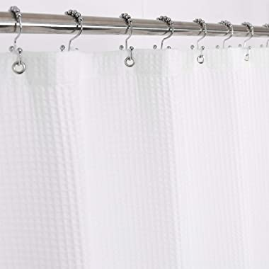 Barossa Design Fabric Shower Curtain Cotton Blend - Honeycomb Waffle Weave, Hotel Collection, Spa, Washable - White, 72 x 72 inch