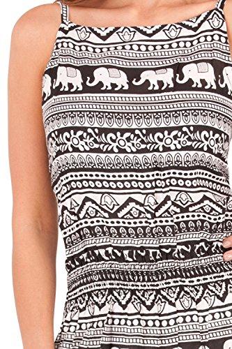 Pistachio, Vestido corto con estampado de elefante elástico de cuello alto para mujeres Negro
