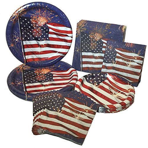 Firework Finale Patriotic/4th of July Party Bundle With Plates & Napkins (16 Guests) -