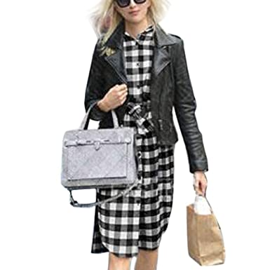 94517db952f eshion Women Lady Long Sleeve Plaid Check Straight Tunic Casual ...