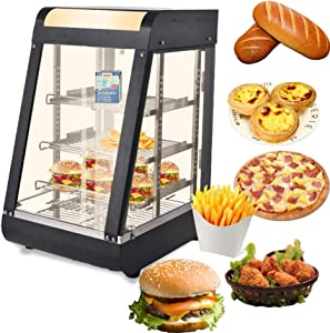 Commercial Food Warmer Display Case,15in Hot Food Display Countertop Case 30-85℃ Temperature Adjustment Pizza Bread Pastry 3-Layer Warm Display Cabinet For Parties Buffets Fast Food Restaurant